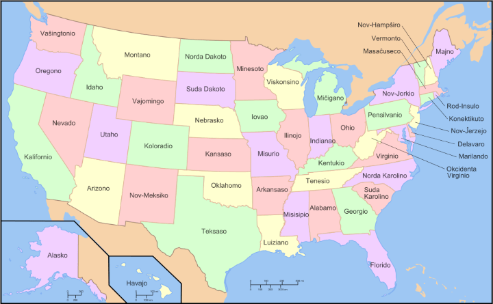 map of usa with names in Esperanto