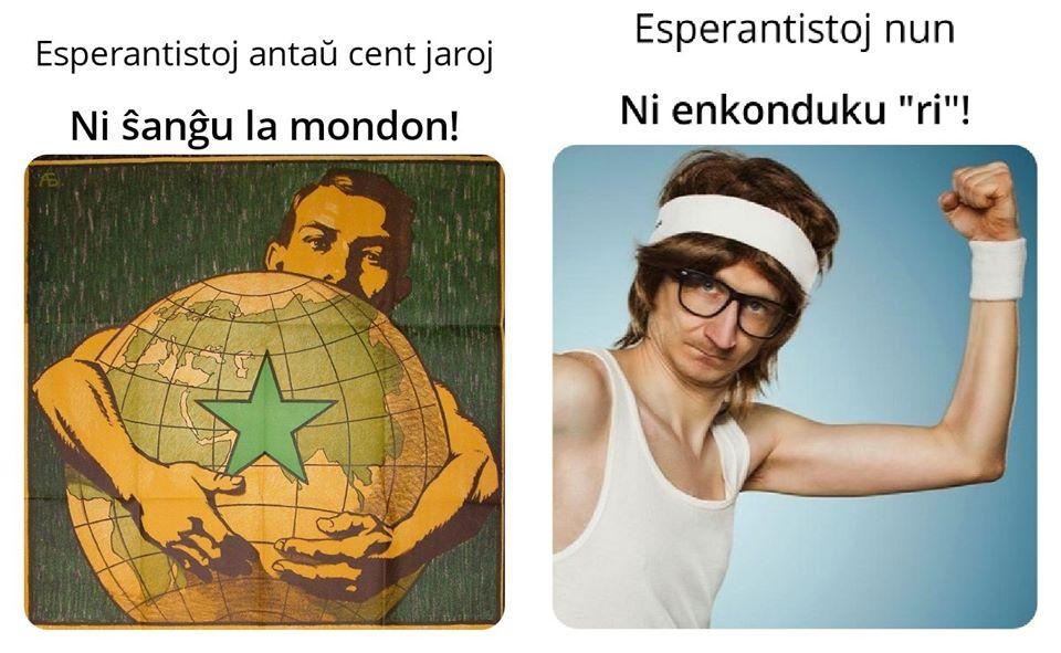 malnovstilo bildo kun viro, kiu brakumas mondo kaj diris esperanto tiam, ni ŝanĝu la mondo esperanto hodiaŭ, ni enkonduku ri