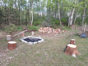 Fire pit with log stumps to sit on, bright sky at 11 pm