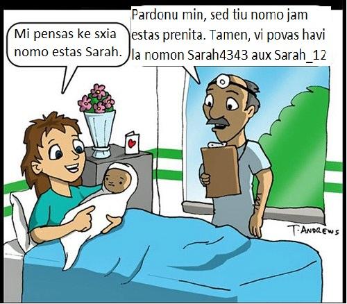 patrino pri nova bebo: ŝia nomo estu sarah ŝia kuracisto: ĝia nomo dvas inclusivi ĉifero el 1234567890 kaj simbolo kiel !@#$