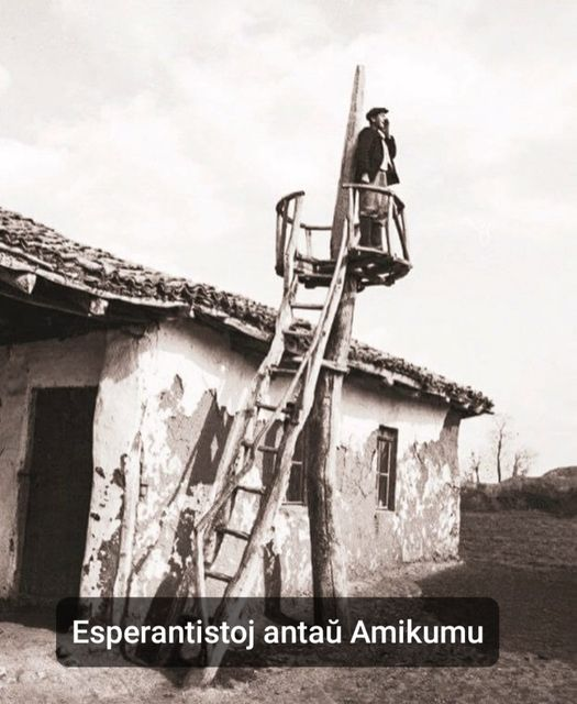 "picture of person on ladder searching for esperantists. caption says, ""Esperantists before Amikumu"""